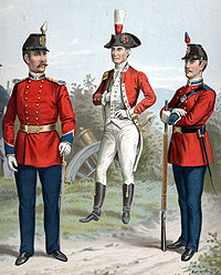 Second Corp of Cadets looking very British in their uniforms