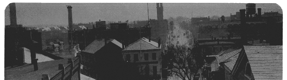 Birdseye view of Central Street in Salem from the early 1900's. Part of the history of the best Salem walking tour.